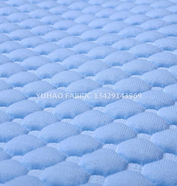 Sky blue knitted jacquard fabric
