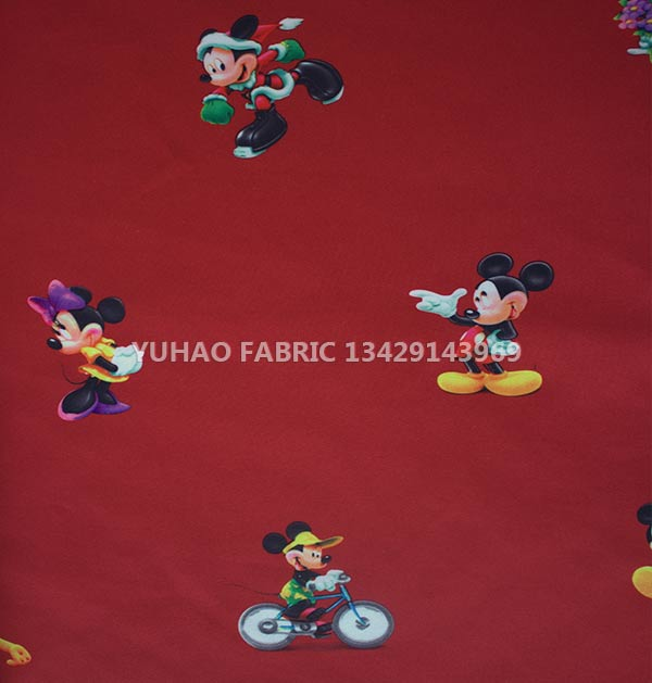 Red brushed printed fabric-RLP-6