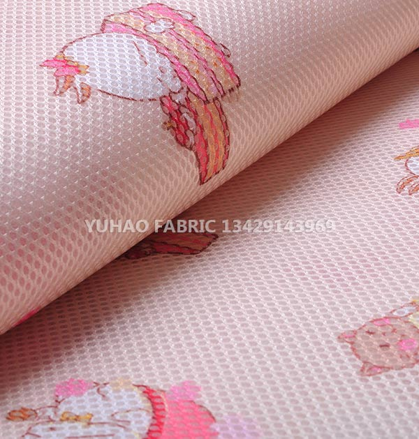 3D net mesh printed fabric-pink