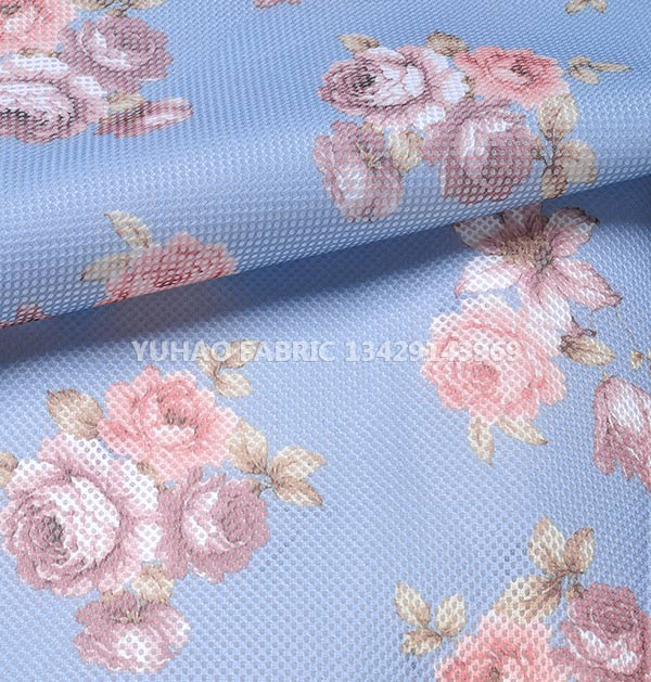3D net mesh printed fabric-single floral